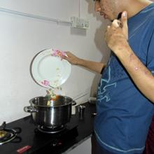 Person with autism cooking in the kitchen India