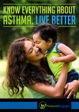 Know everything about Asthma, Live Better- Ebook cover showing a mother and child