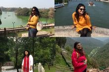 A collage of pictures of Rohini showing her before and after weight loss