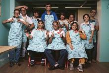 Image description: The team of people with intellectual and development disability who operate Cafe Arpan, a Juhu Mumbai snacks cafe