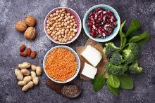 Image: Stock pic of vegetarian source s of protein - bowls of lentils and pulses, tofu, paneer, etc