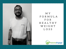 A man in a white tshirt and black trousers with the text - My Formula for healthy weight loss