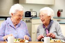 2 elderly women at a kitchen table