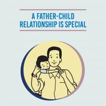 An image which has a vector image of a child on the father's back with the heading - A father child relationship is special
