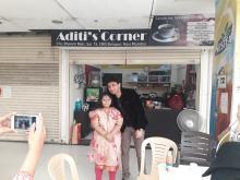Aditi Verma wth chef Vikas Khanna outside the cafe Aditi's Corner
