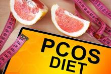 A stock pic that reads PCOS Diet and shows grapefruits