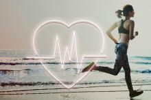 Stock pic of a young women running on the beach with an overlay of a heart and ECG