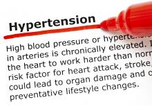 Image: Stock pic with a definition of hypertension with a red underline