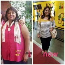 On the left an Indian woman in a pink dress and white scarf who was over weight and on the right a trimmer version woman in a white and yellow top and black pants