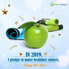 Happy New Year 2019. A pledge for healthier choices with an image of an apple, exercise rope and an exercise or yoga mat