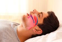 Image of a person snoring and sleeping with demonstrations of airways being affected