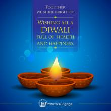Happy Diwali greetings with lamps