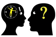 A vector image of a clock on woman's head and a question mark on man's head