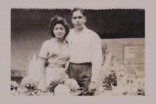 Image: Black and white pic of Marianne's parents as a young couple - mom on the left and dad on the right