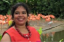 Image: Preksha, autistic woman, in a red dress against a background of pink flamingoes