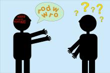 Image: Stock image of two people communicating with each other but the words in the speech bubbles are jumbled