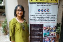 Ritika Sahni in a green kurta on the left standing next to a Trinayini poster on the right