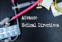 Image: Stock pic that says Advanced Medical Directive and shows treatment options