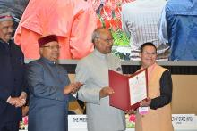 Image: Pranay Burde with Down's Syndrome receives award from President of India