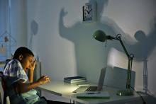 Stock pic showing a young teen on the left scared and traumatised by something on his laptop. There is a lamp that shines directly on the laptop and there is a large shadow on the wall.