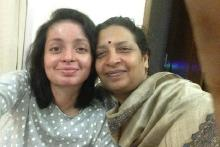 Srishti on the left with her mother