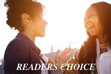 Two women with Readers Choice text overlaying the image